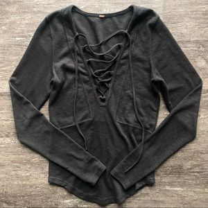 Free People lace up long sleeve top